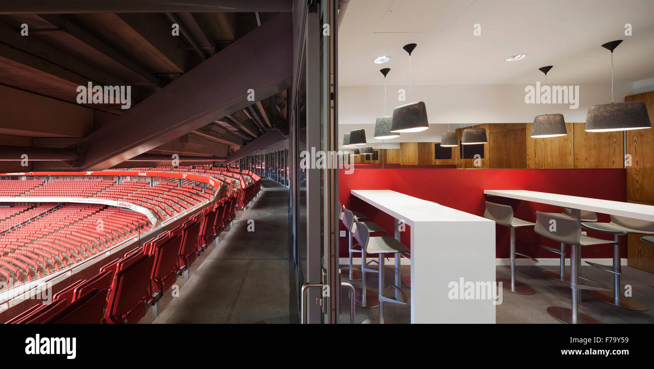 Private box and tiered seating at Emirates Stadium, Arsenal FC 2013, design by 2020 - Stock Image