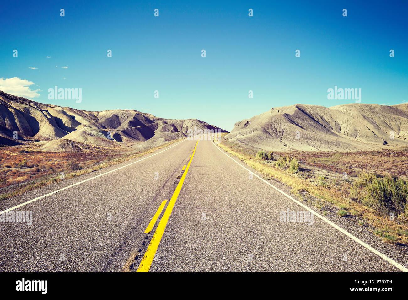 Vintage toned endless country highway, USA. - Stock Image