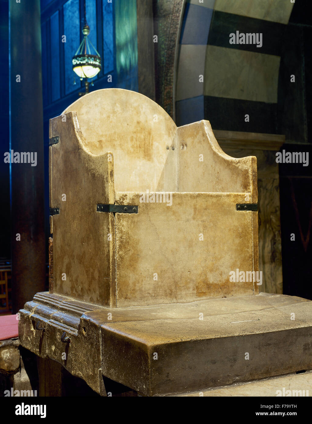 Throne of Charlemagne. C.800. Marble. West side of the upper gallery. Palatine Chapel. Aachen Cathedral. Germany. - Stock Image