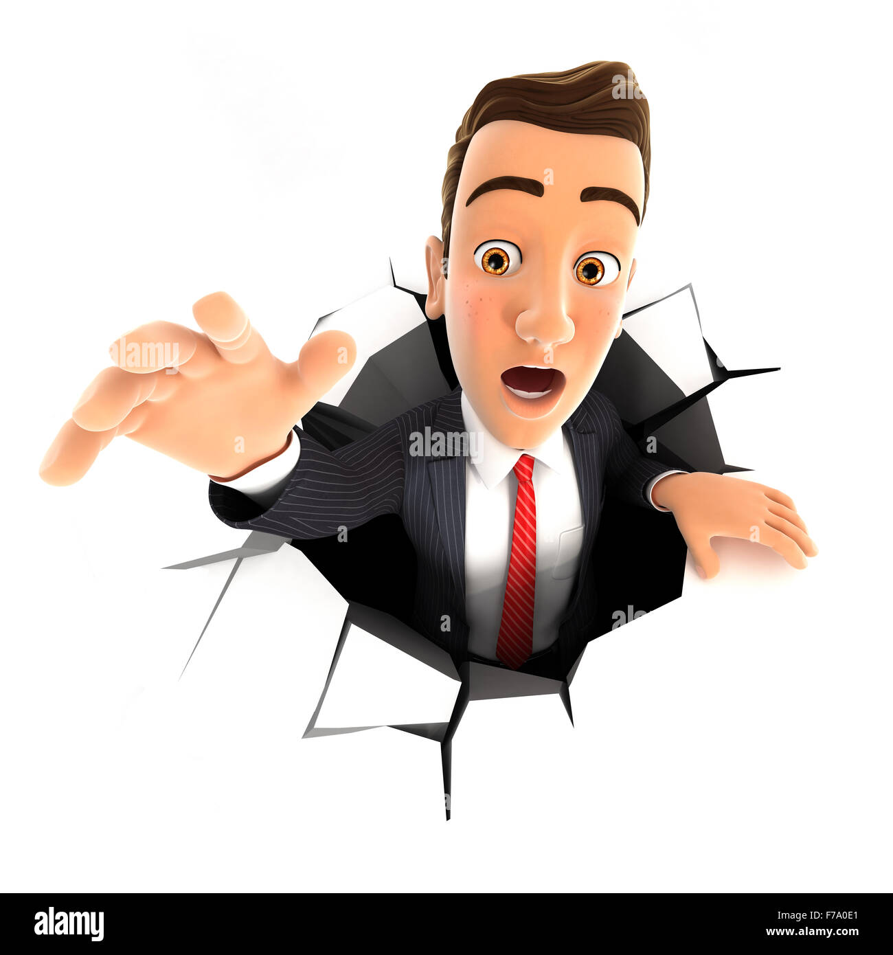 3d businessman falling down into a hole, isolated white background Stock Photo