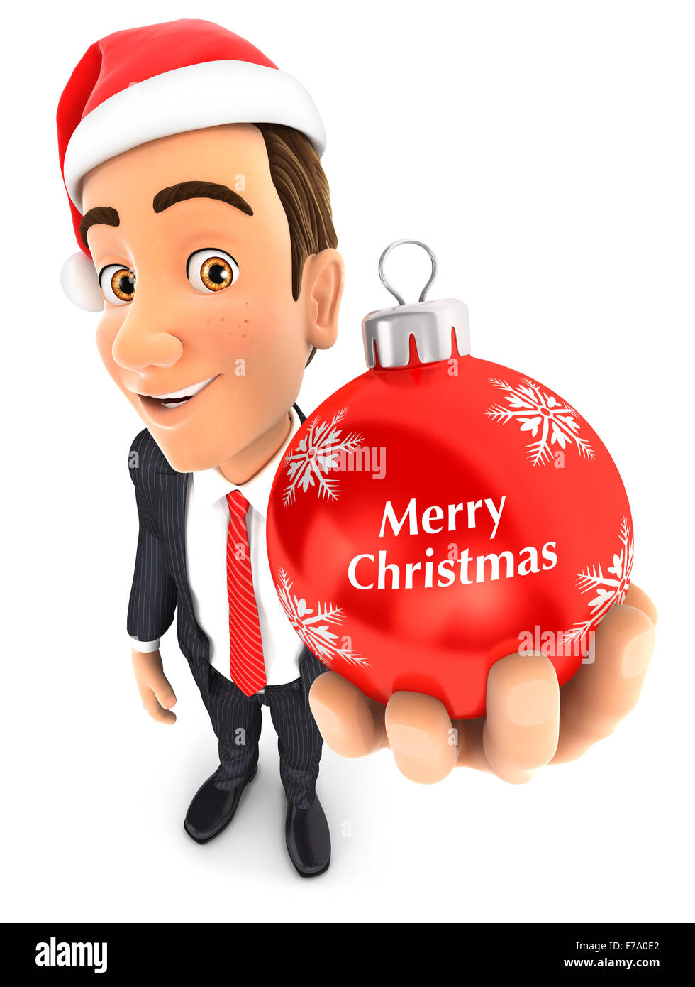 3d businessman holding a christmas bauble, isolated white background Stock Photo