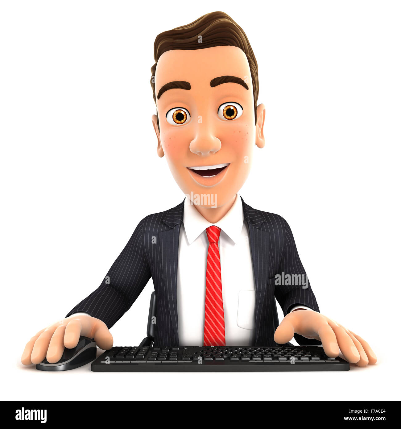 3d businessman looking at his computer, isolated white background Stock Photo