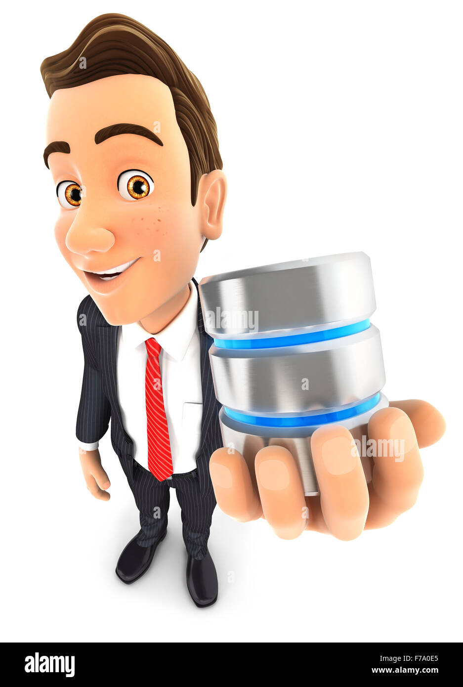 3d businessman with a server icon, isolated white background Stock Photo
