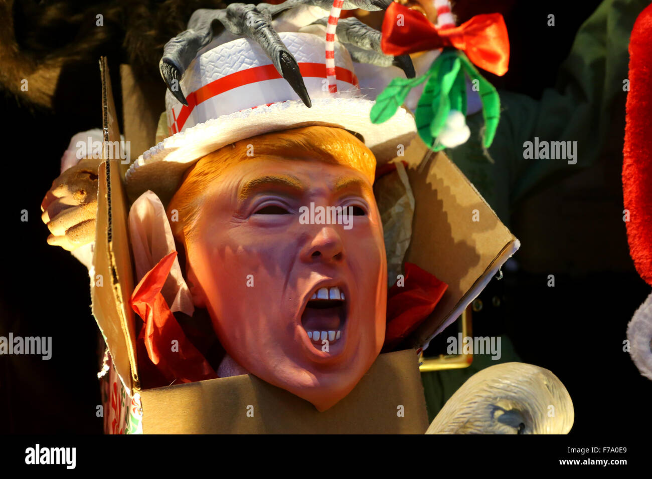 Donald Trump the scrooge, in a costume store display window - Stock Image
