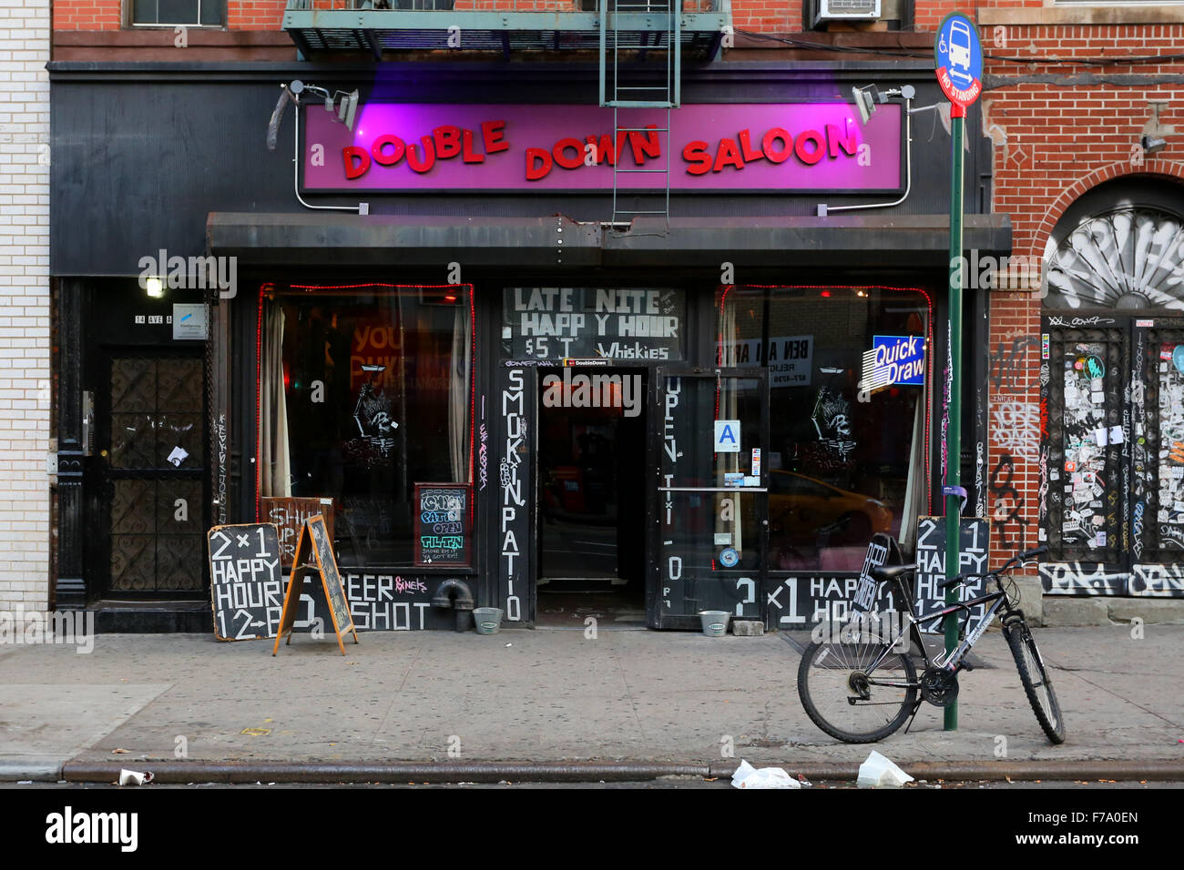 Double Down Saloon, 14 Ave A, New York, NY - Stock Image