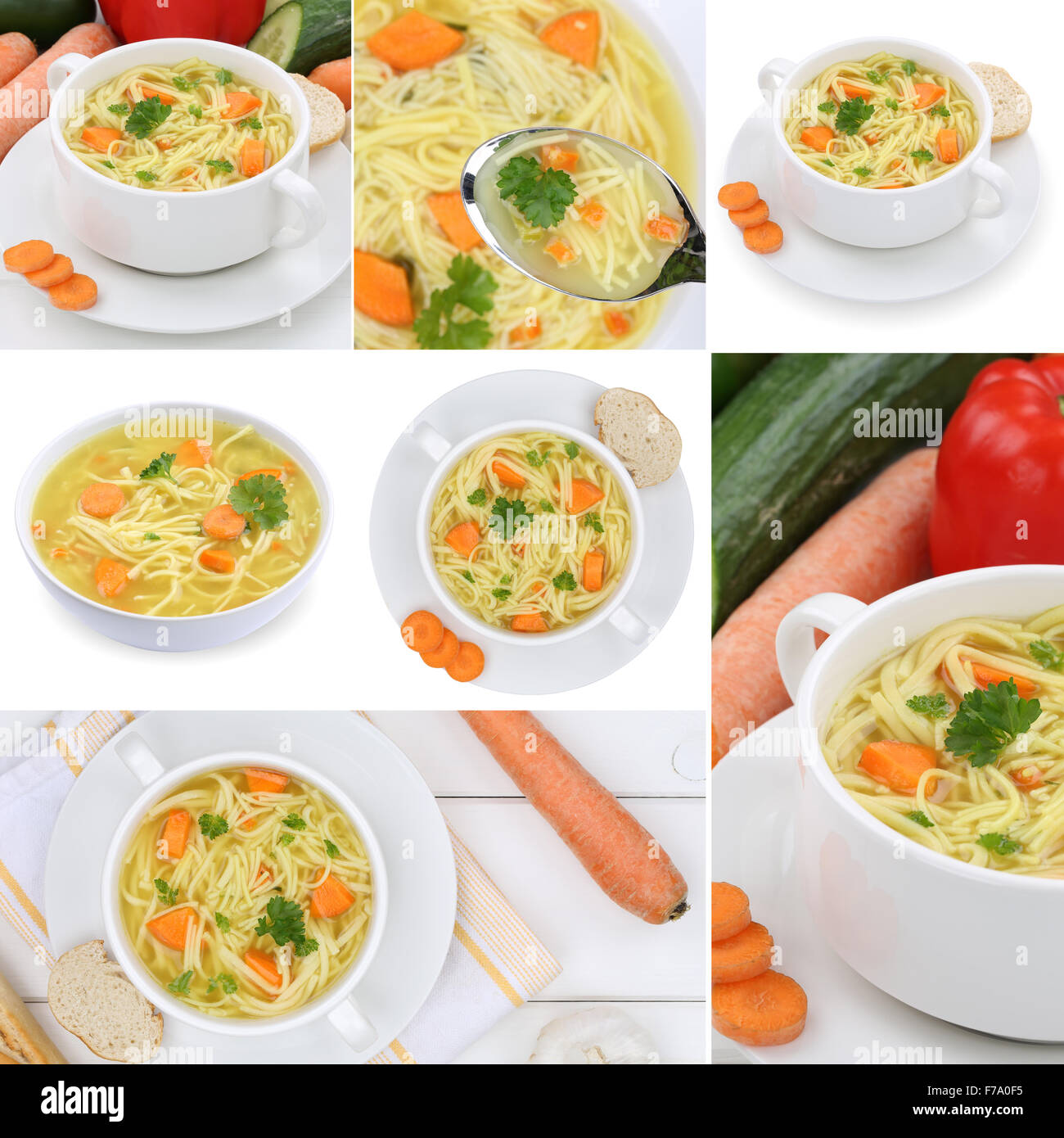 Collection of noodle soup soups in bowl with noodles meal - Stock Image