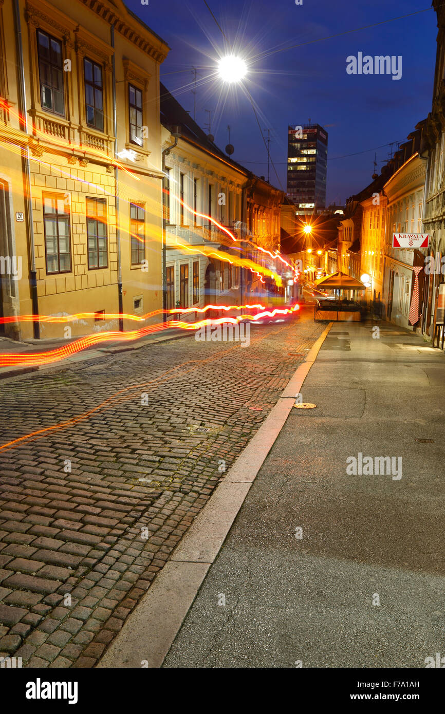 Zagreb night, upper town, Radiceva street - Stock Image