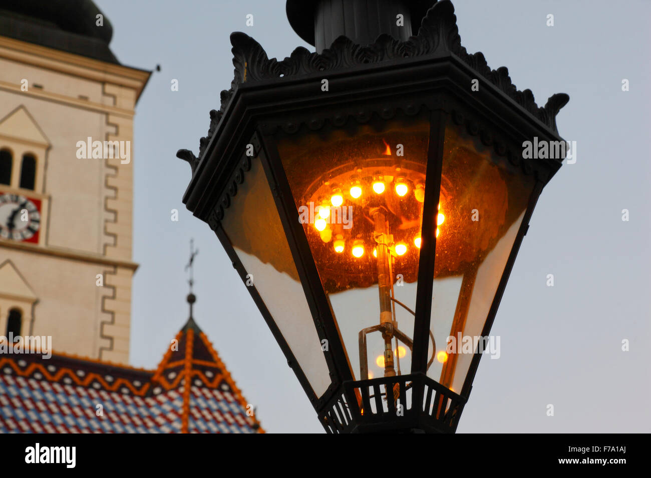 Zagreb Gas lamps (since 1863). There are 217 gas lamps and they have been hand lit for the past 143 years. - Stock Image