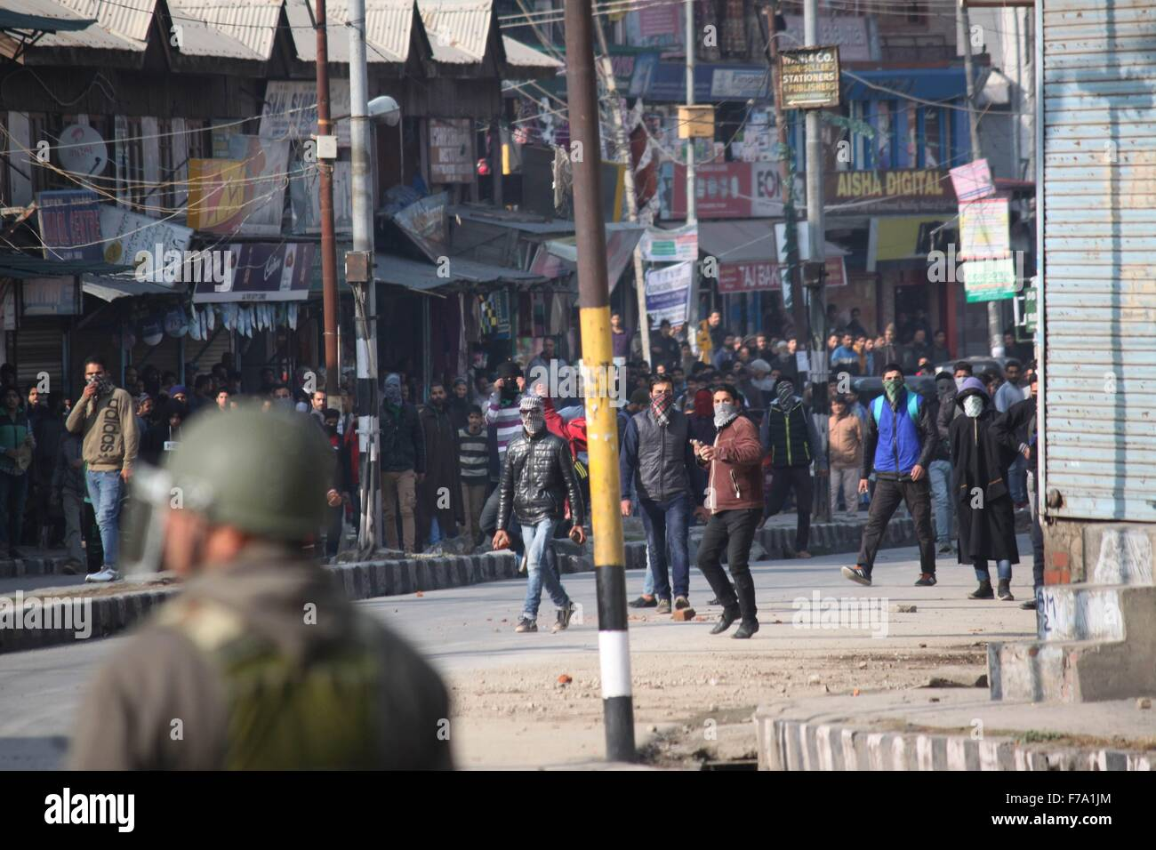 Clashes in Srinagar after friday prayers. - Stock Image