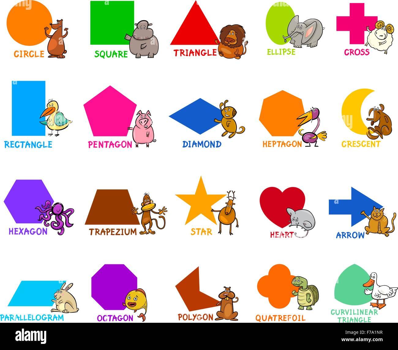 cartoon illustration of educational basic geometric shapes for stock