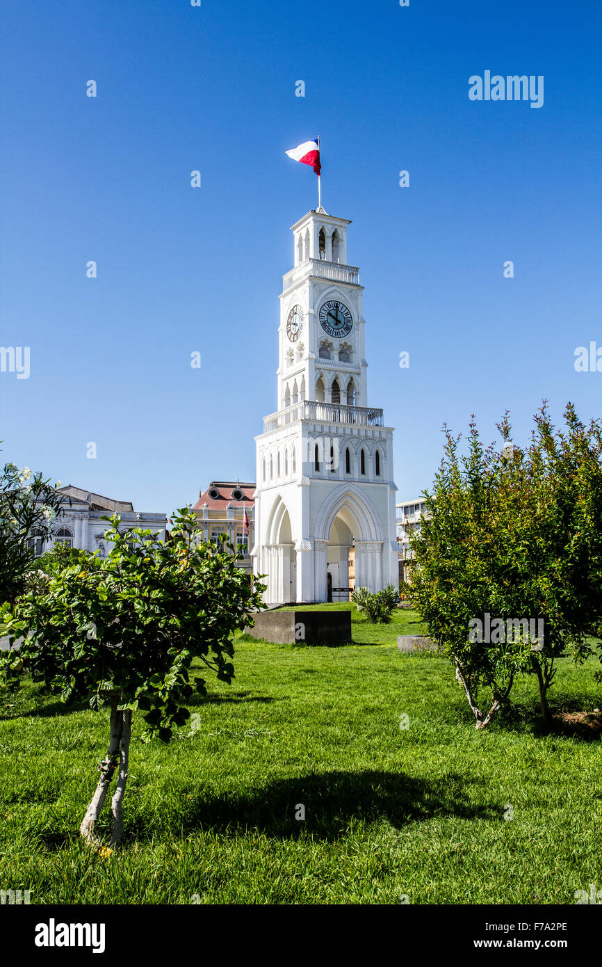 Clock Tower, in Arturo Prat Square (Plaza Arturo Prat), built in 1878, when Iquique was in Peruvian territory. - Stock Image