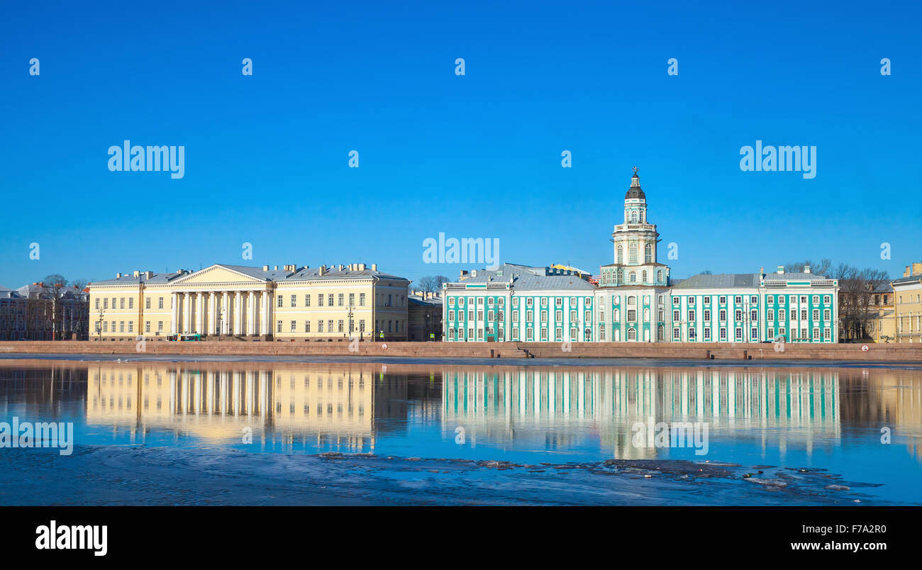 Cityscape with Neva river coast, Russian Academy of Sciences and Kunstkamera facades - Stock Image