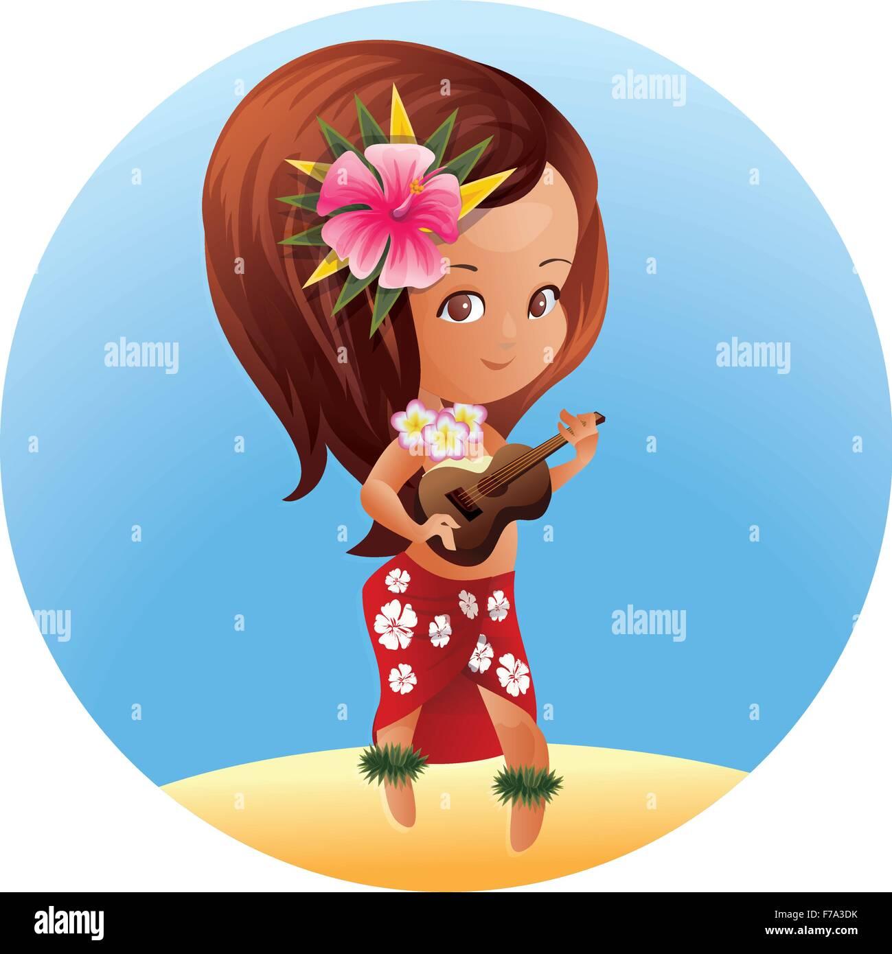 Luau Ukulele Hawaiian cartoon girl - Stock Vector