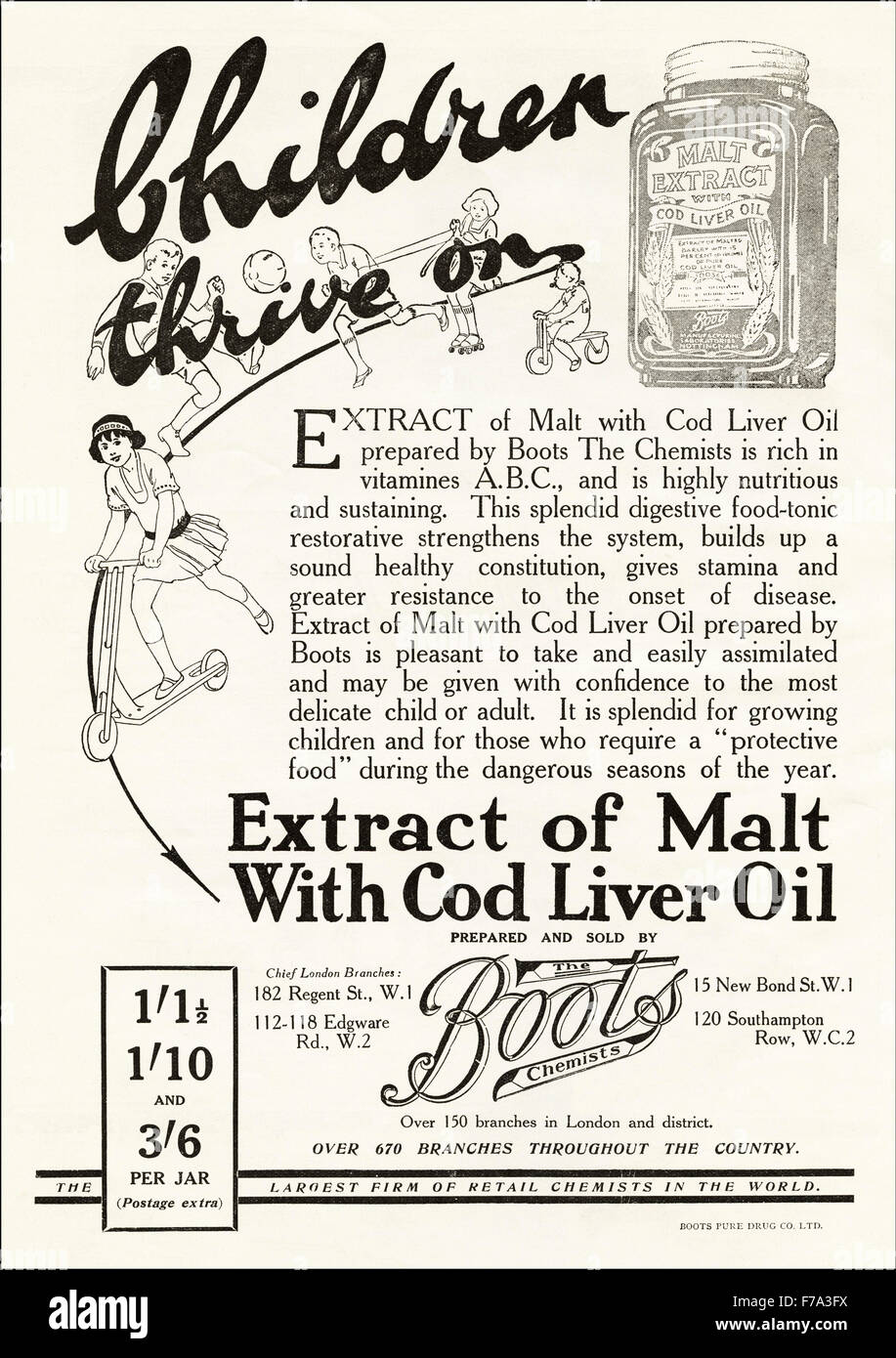 1920s advertisement. Advert dated 1923 advertising Extract of Malt with Cod Liver Oil for children made & sold - Stock Image