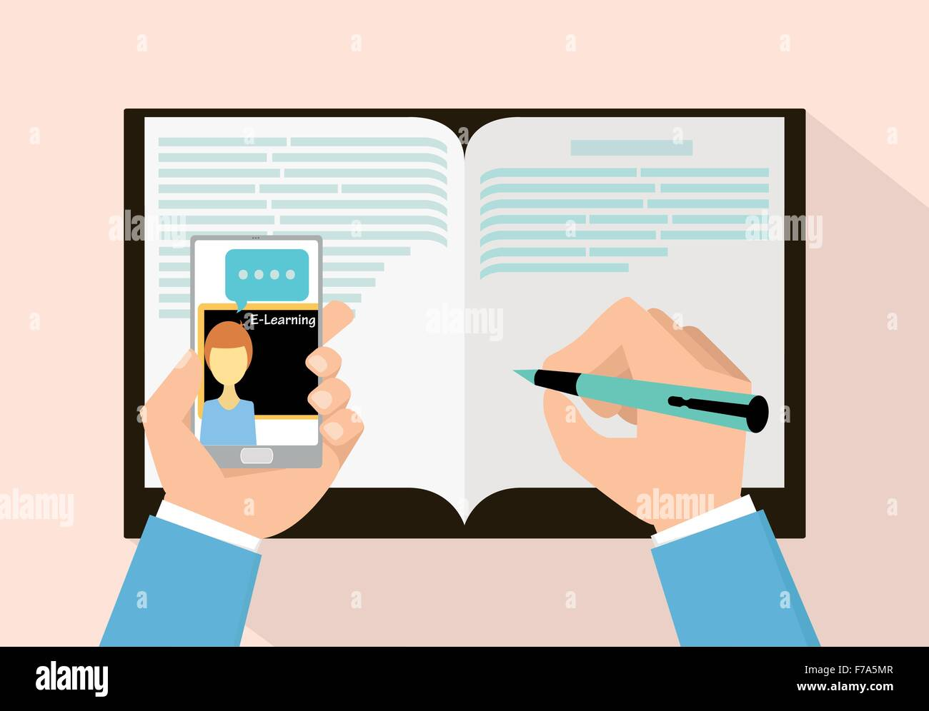 E-learning concept with smart phone vector illustration - Stock Image