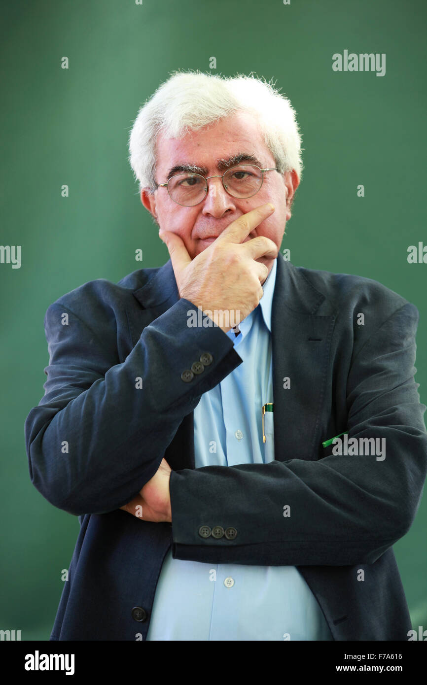 A portrait of Elias Khoury in Charlotte Square Gardens during The Edinburgh International Book Festival. - Stock Image
