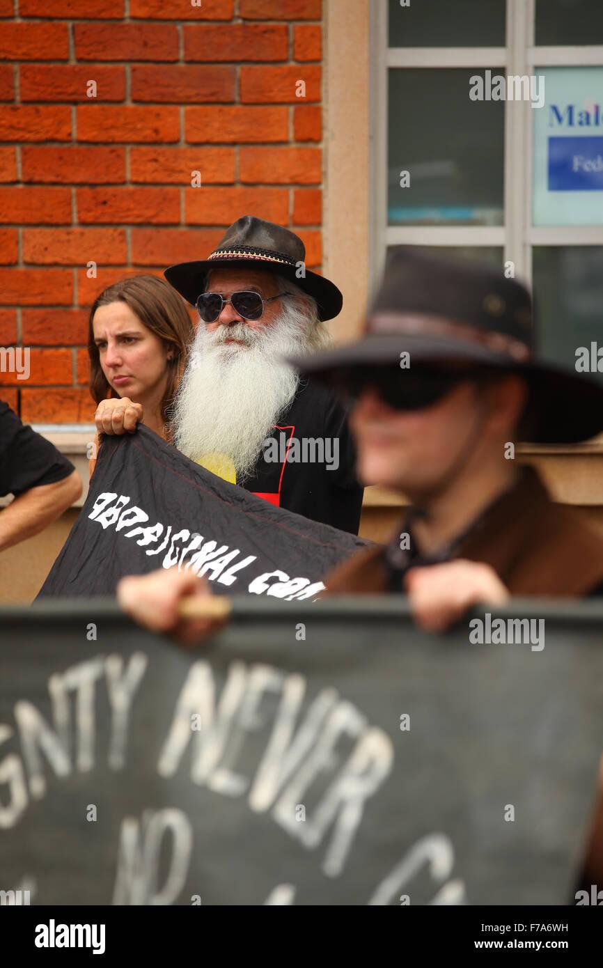 Sydney, Australia. 27 November, 2015. Protesters from the #sosblakaustralia movement rallied outside the Australian - Stock Image
