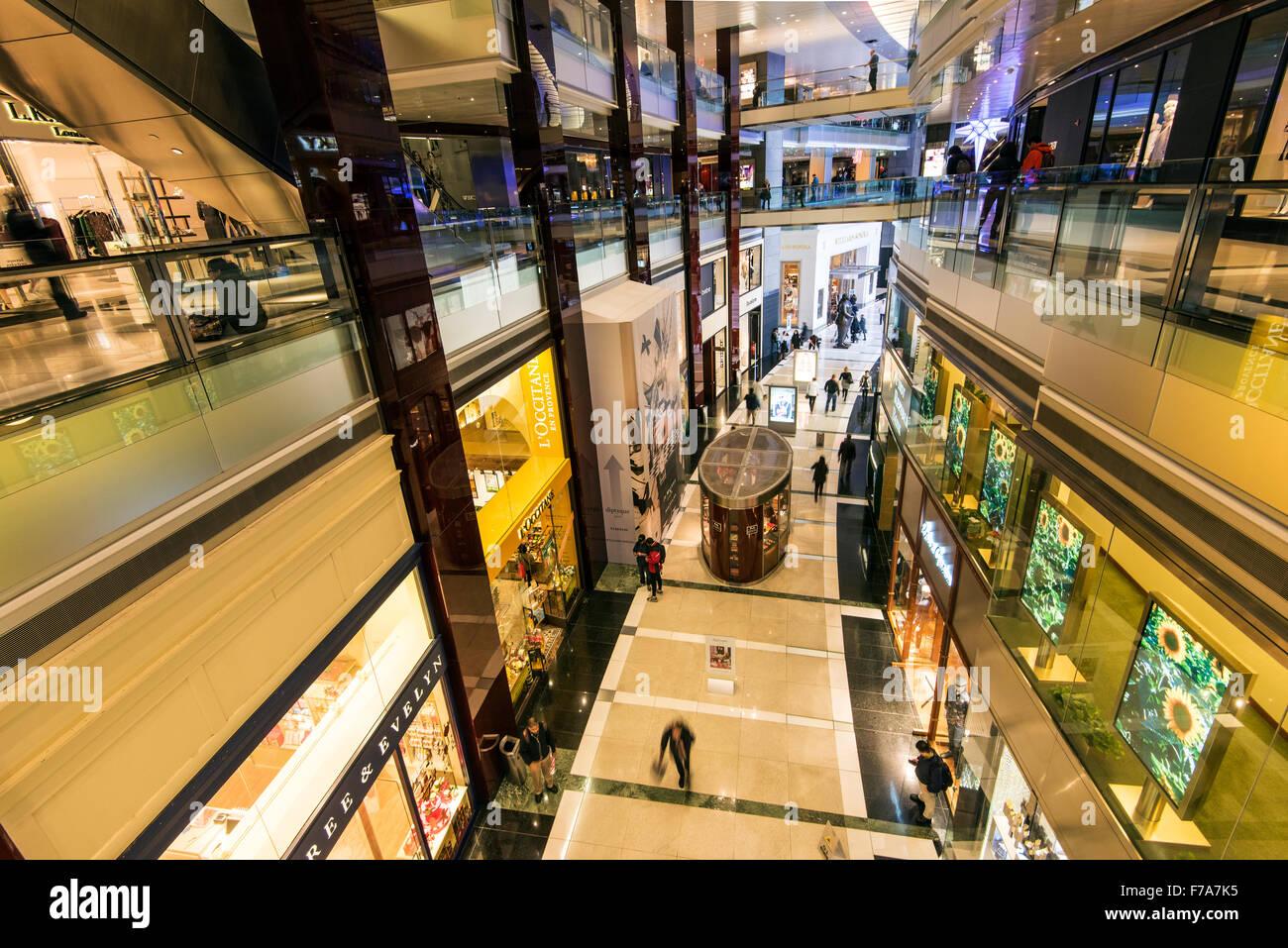 The Shops at Columbus Circle shopping mall, Time Warner Center, Manhattan, New York, USA - Stock Image