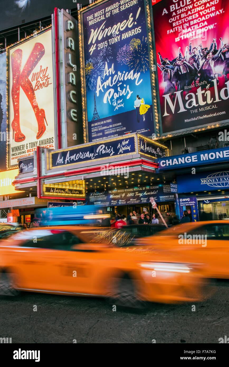 Musicals billboards, Theatre District, Broadway, Manhattan, New York, USA - Stock Image