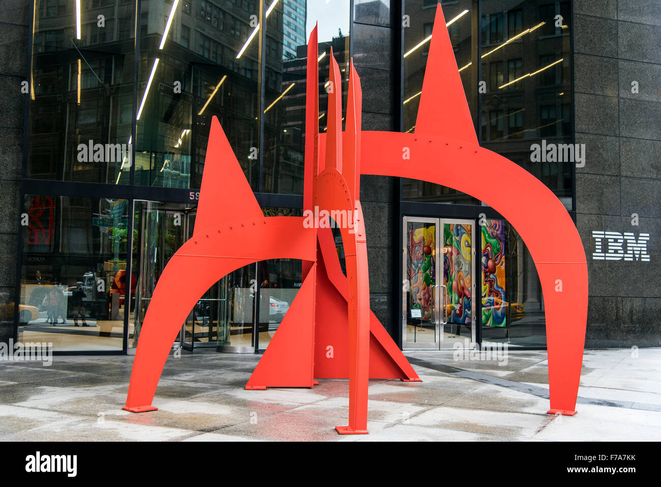 Red Saurien sculpture outside the IBM Building, Manhattan, New York, USA - Stock Image