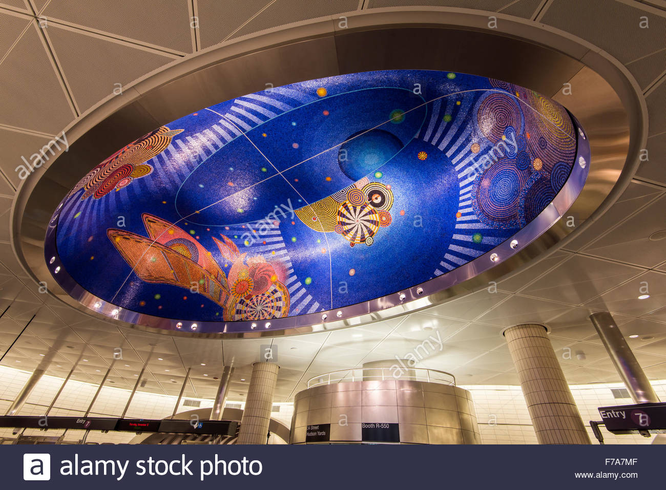 Colorful glass mosaic by artist Xenobia Bailey at the 34th Street - Hudson Yards subway station, Manhattan, New - Stock Image