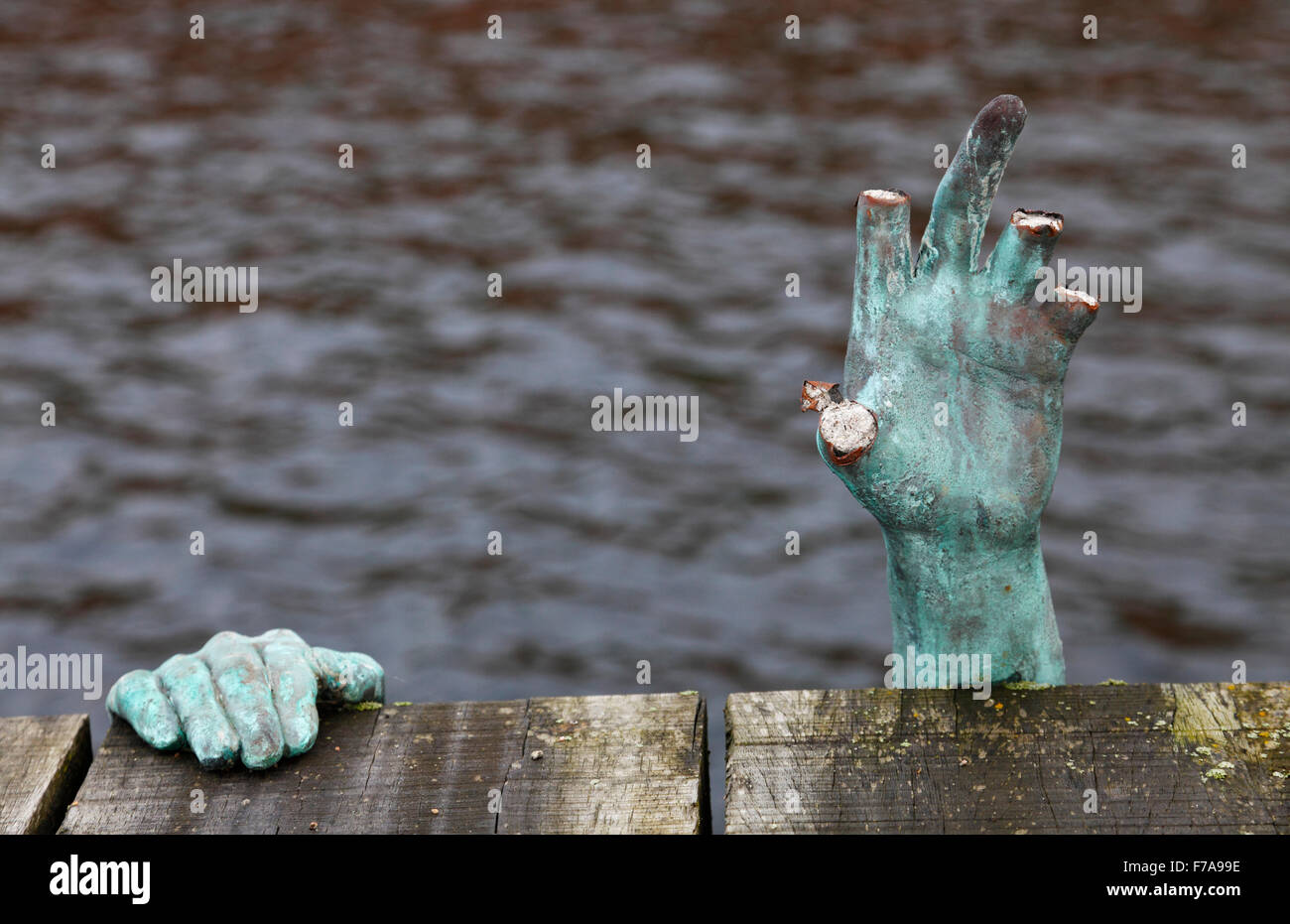 Elsinore, Denmark, 27th November, 2015. An unknown artist in Elsinore (Helsingør)  has recently placed mysterious - Stock Image