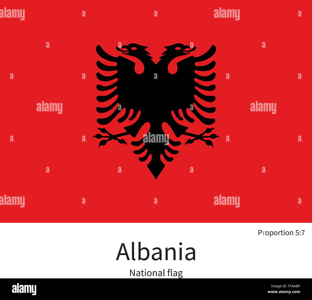 National flag of Albania with correct proportions, element, colors - Stock Vector