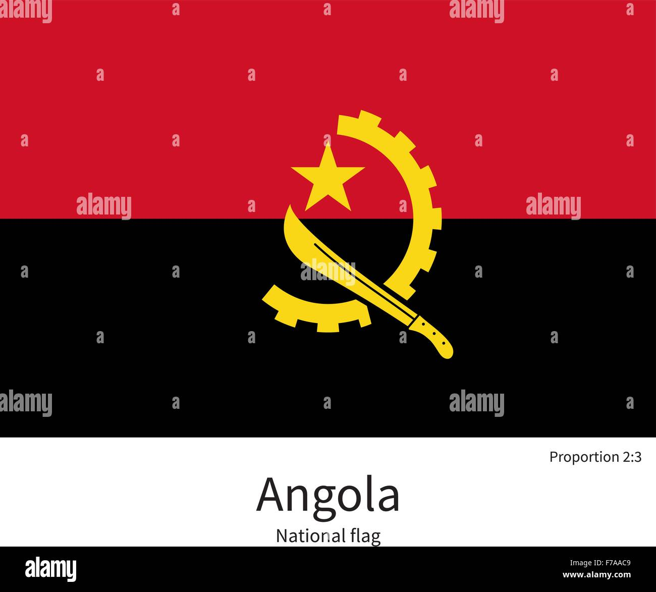 National flag of Angola with correct proportions, element, colors - Stock Vector