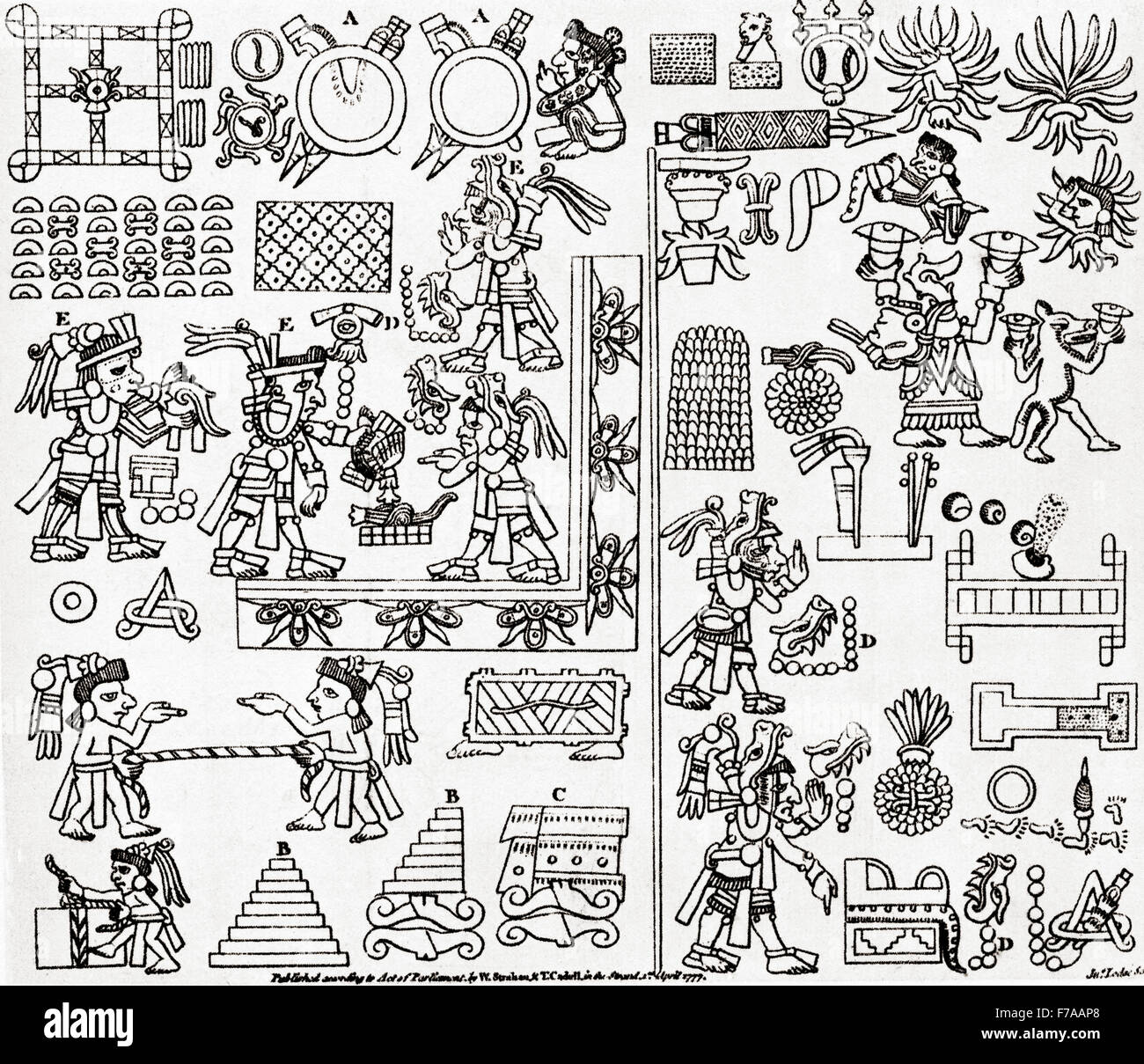 Section of a Mayan codex.  After the frontispiece to William Robertson's History of America, 1777. - Stock Image