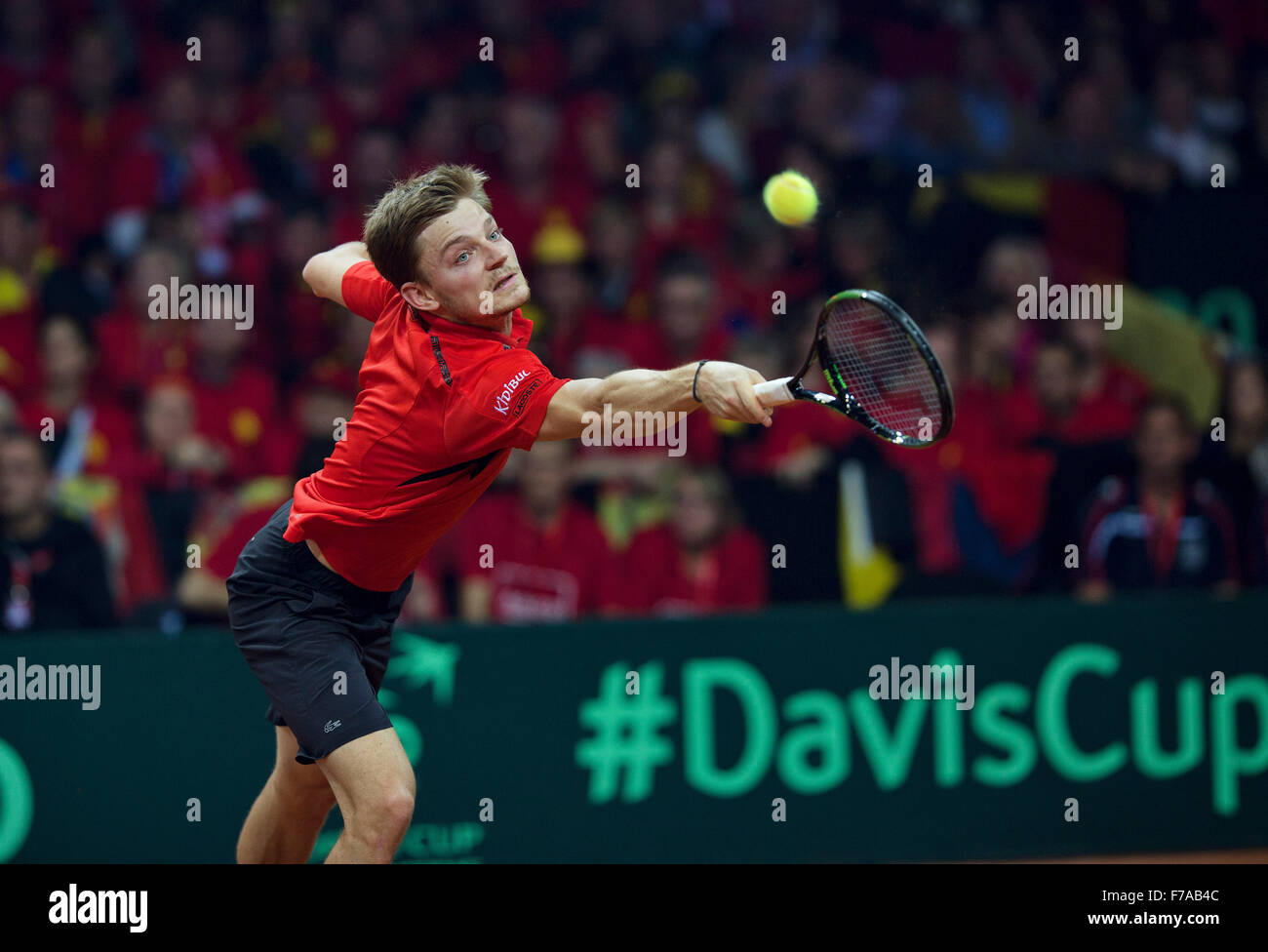 Gent, Belgium. 27th November, 2015. Davis Cup Final, Belgium-Great Britain, First match, David Goffin (BEL) Credit: - Stock Image