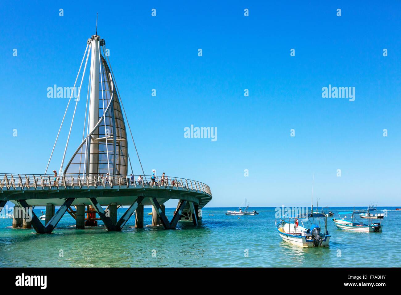 Pier of Los Muertos in Zone Romantica, Puerta Vallarta, Mexico in the Bay of Banderas, Stock Photo