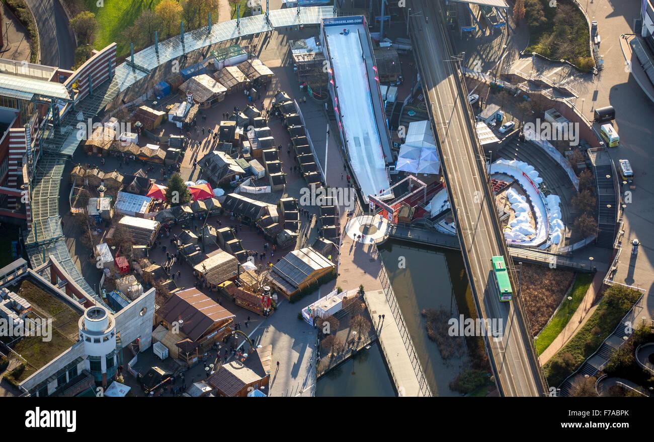 Christmas market at the Centro Oberhausen, Oberhausen, Ruhr, North Rhine Westphalia, Germany, Europe, Aerial view, - Stock Image