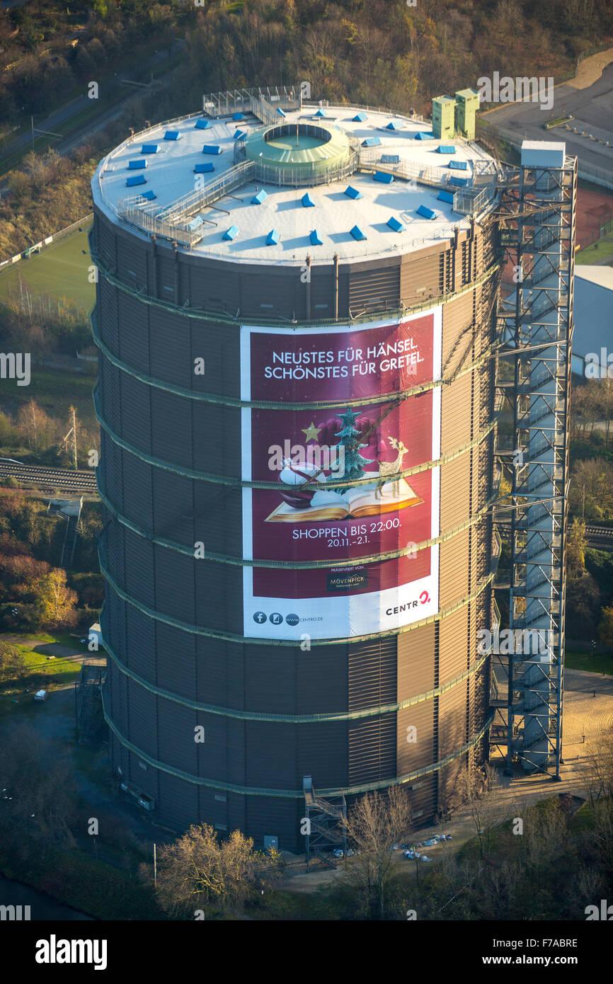 Gasometer Oberhausen, Oberhausen, Ruhr, North Rhine Westphalia, Germany, Europe, Aerial view, - Stock Image