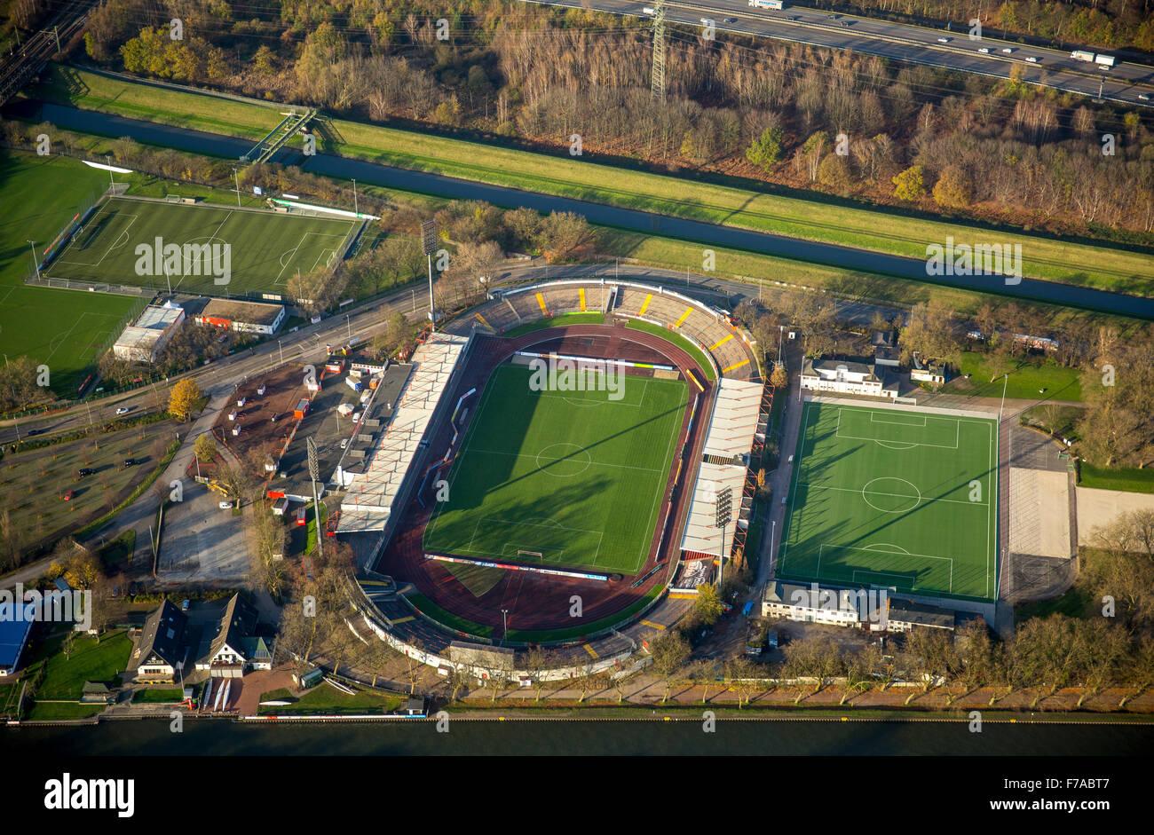 RWO Stadium, Niederrheinstadion Oberhausen between Emscher and Rhine-Herne Canal, Oberhausen, - Stock Image