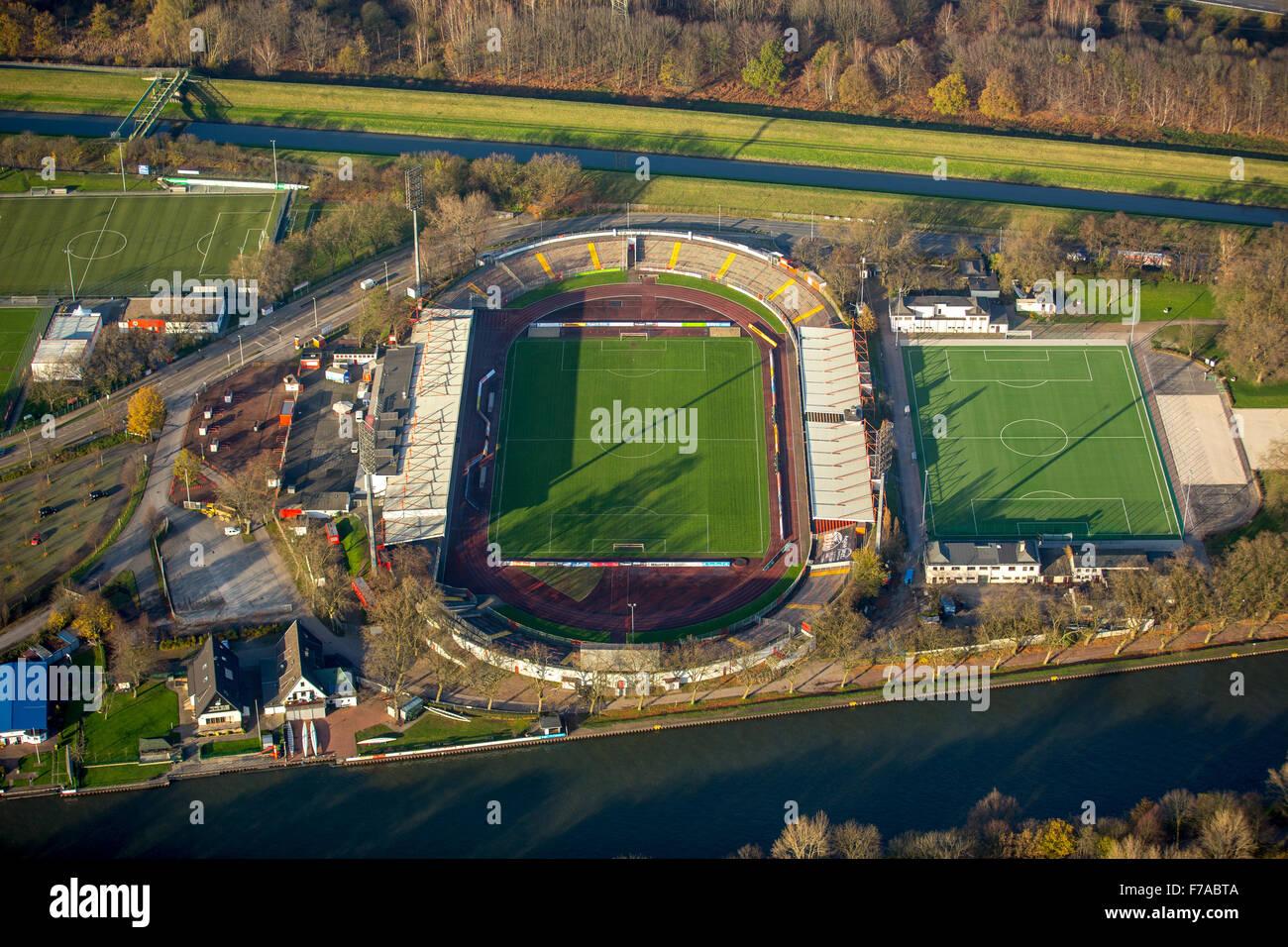 RWO Stadium, Niederrheinstadion Oberhausen between Emscher and Rhine-Herne Canal, Oberhausen, Ruhr, North Rhine - Stock Image