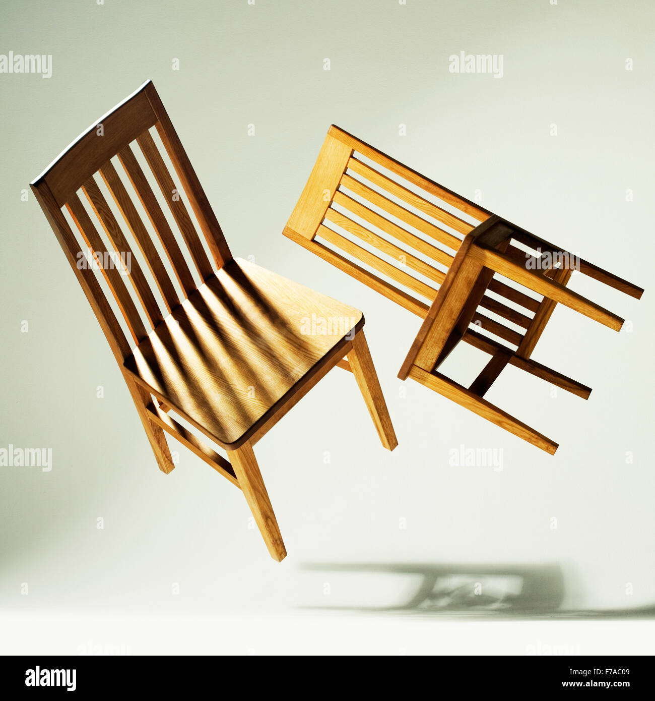 musical chairs, floating,chair,chairs,notes,music,shadows,fun,game,dance,2 chairs - Stock Image