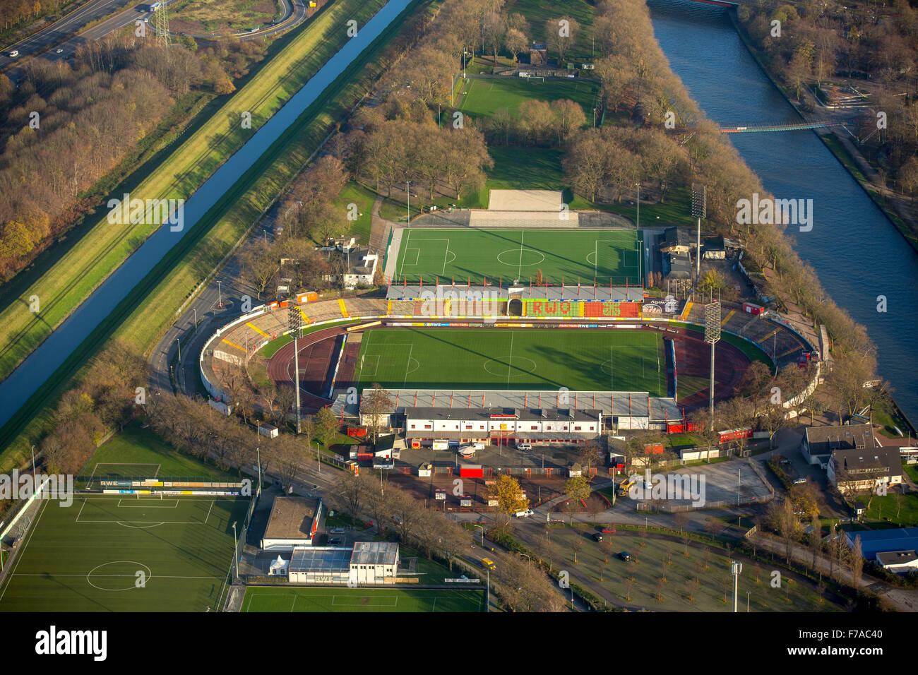 RWO Stadium, Niederrheinstadion Oberhausen between Emscher and Rhine-Herne Canal, Oberhausen, Oberhausen, Ruhr - Stock Image