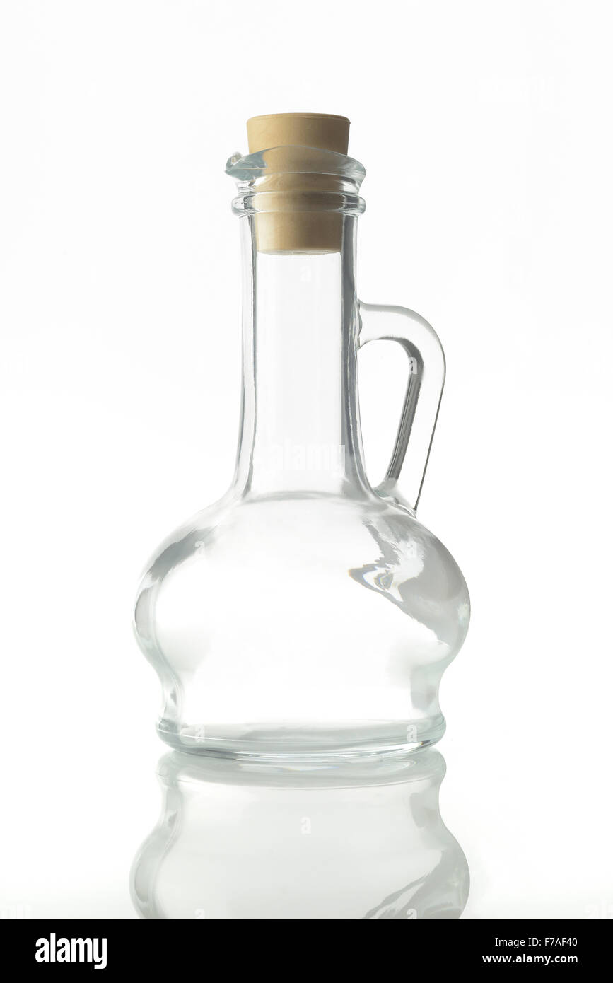 Oil Decanter on White Background - Stock Image