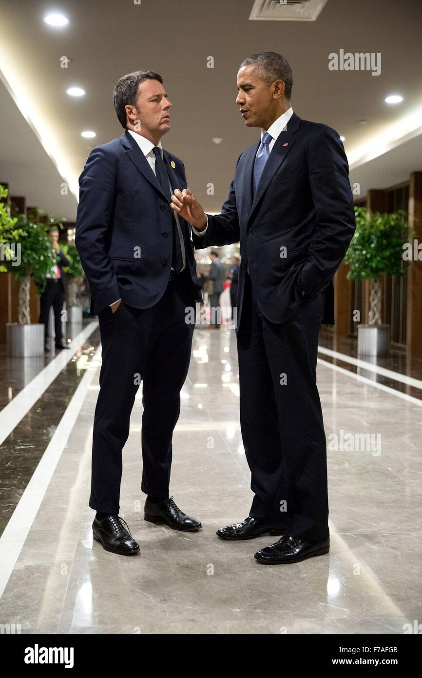 U.S. President Barack Obama talks with Italian Prime Minister Matteo Renzi on the sidelines of the G20 Summit at - Stock Image