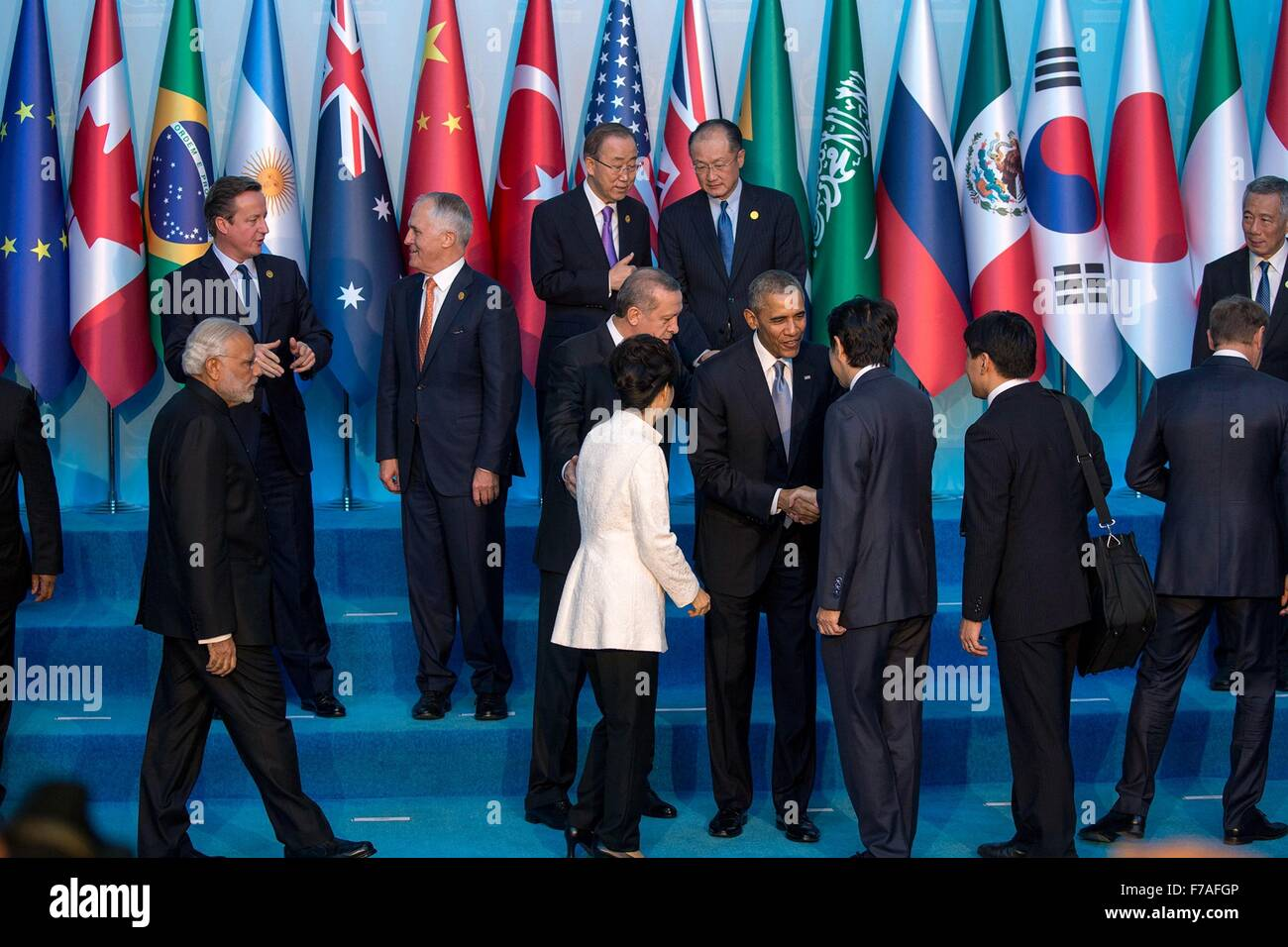 U.S. President Barack Obama with G20 leaders before the group photo at the start of the G20 summit November 15, - Stock Image