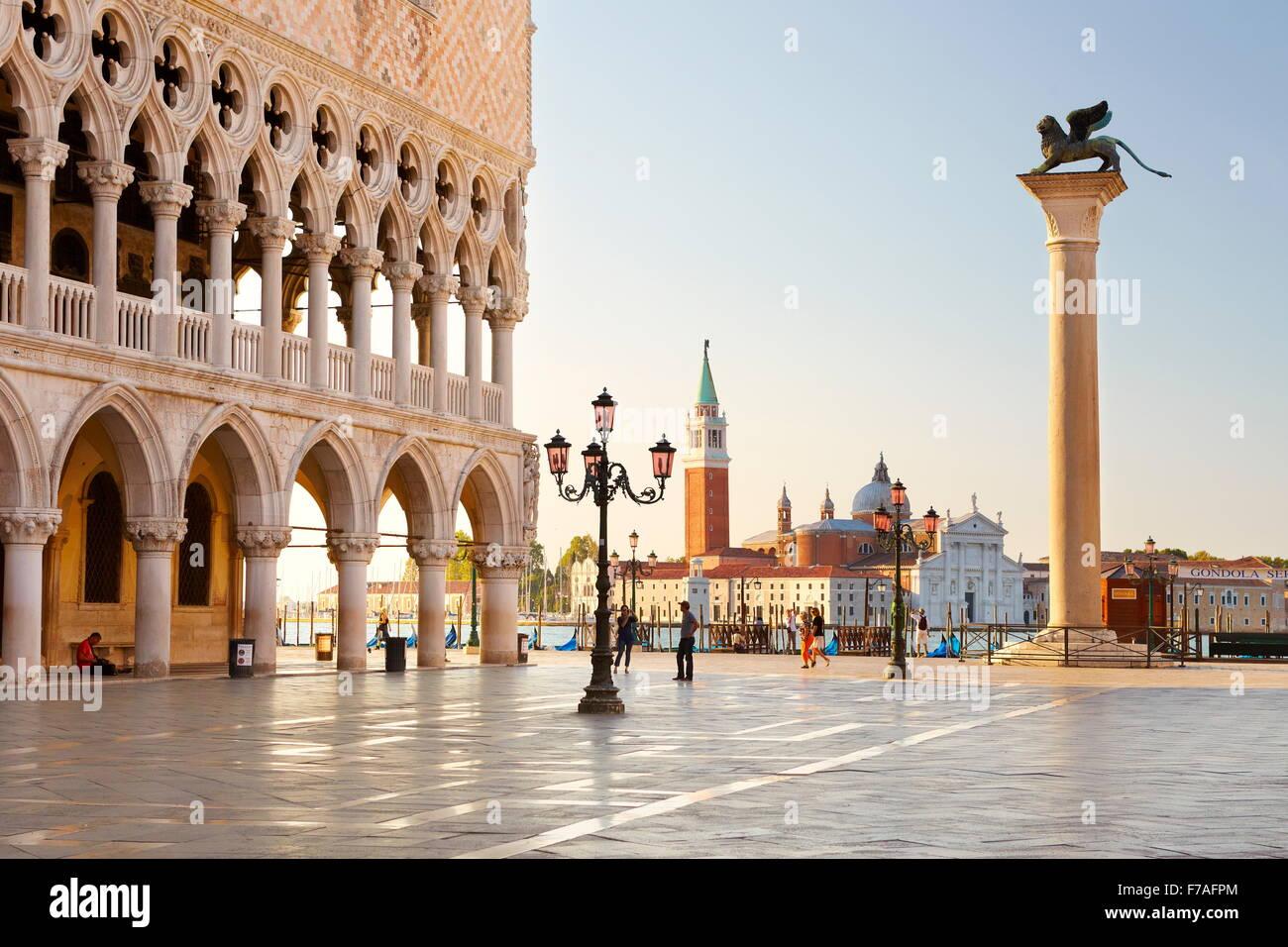 St. Mark's Square and church San Giorgio Maggiore, Venice, UNESCO World Heritage Site, Veneto, Italy - Stock Image