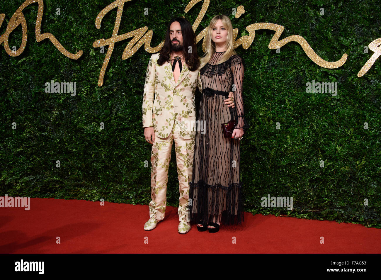 Alessandro Michele and Georgia May Jagger at the British Fashion Awards 2015 in London - Stock Image