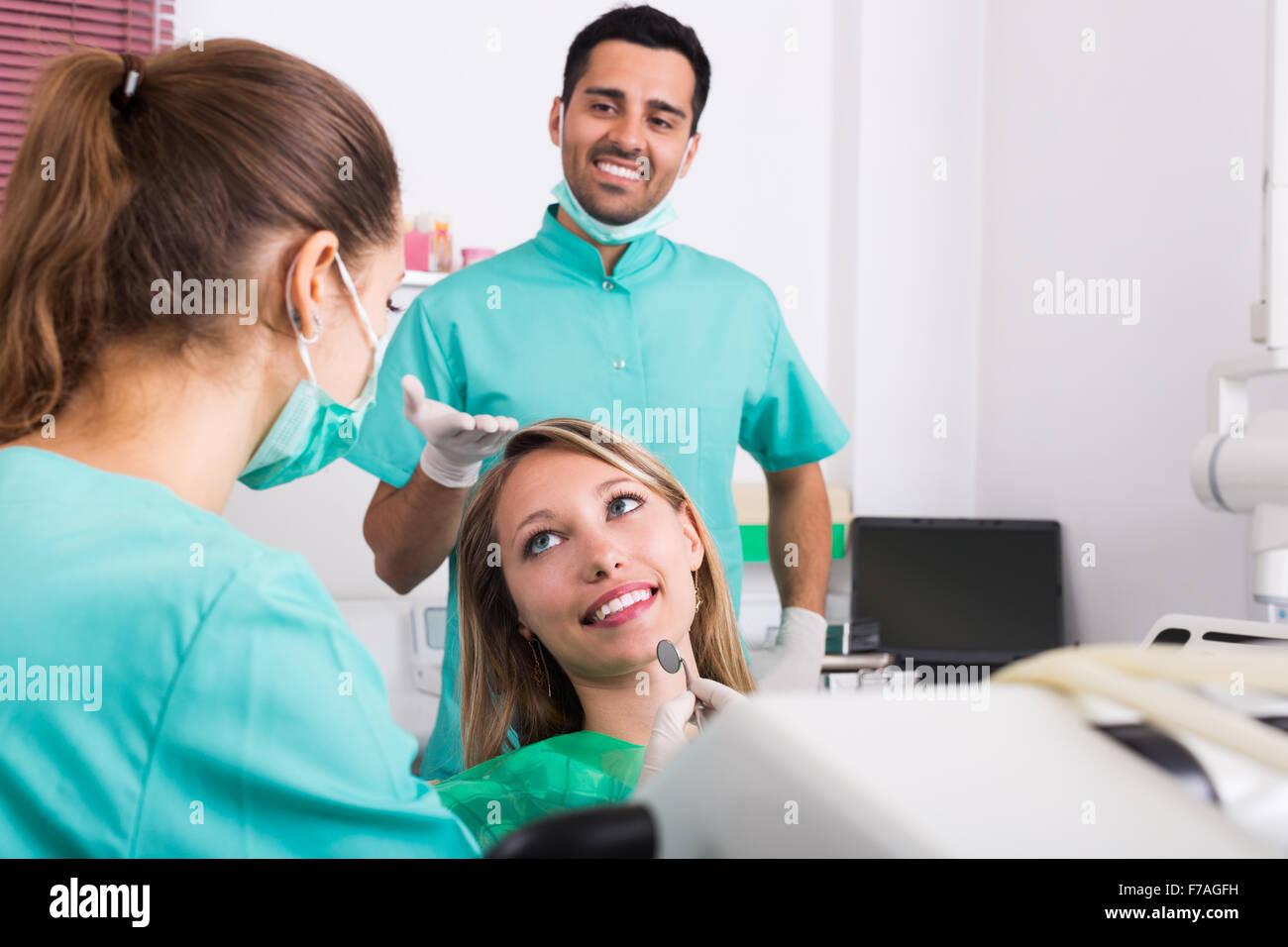 Portrait Spanish Doctor Positive Patient Stock Photos