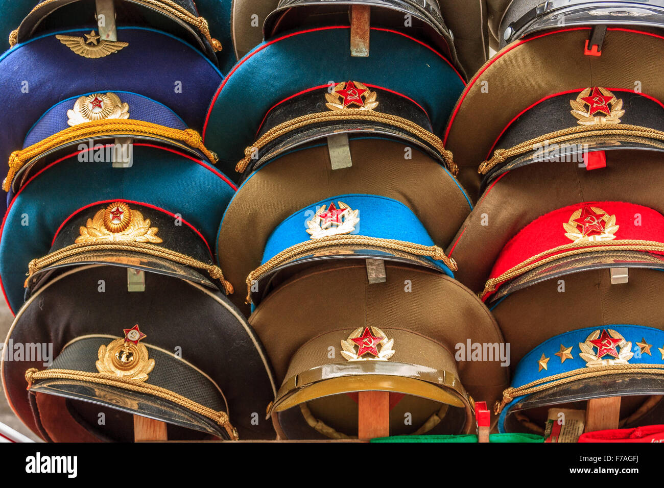 Hats worn by police of East Germany - Stock Image