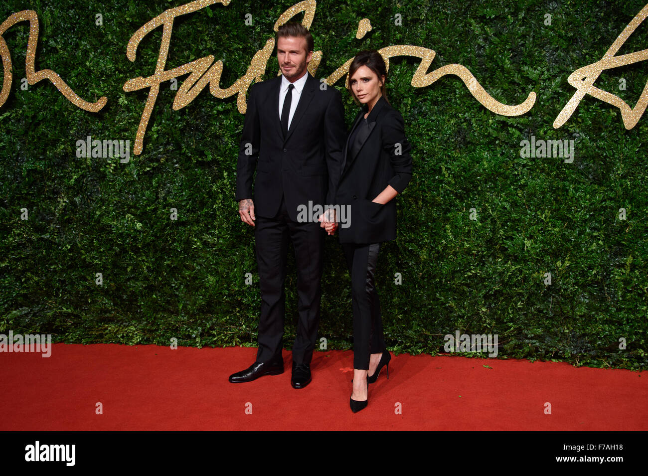 f30faf4c8e7 David Beckham and Victoria Beckham at the British Fashion Awards 2015 in  London - Stock Image