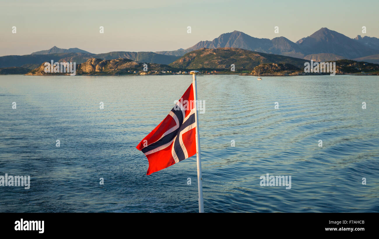 Fjord views on Brensholmen Botnhamn ferry ride - Stock Image