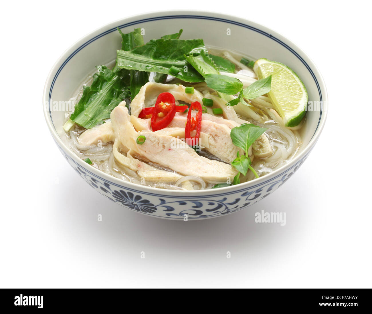 pho ga, vietnamese chicken rice noodle soup isolated on white background - Stock Image