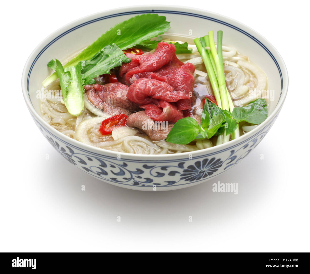 pho bo, vietnamese beef rice noodle soup isolated on  white background - Stock Image