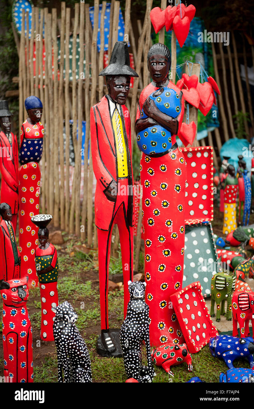 Traditional African arts and crafts on sale at the Hillcrest Farmer's Market, near Durban South Africa. - Stock Image