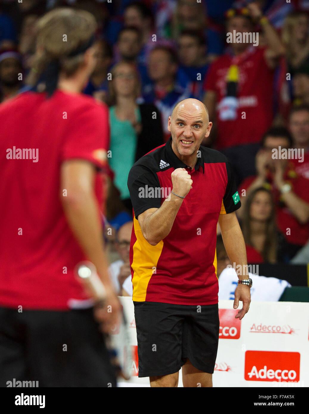 Gent, Belgium, November 27, 2015, Davis Cup Final, Belgium-Great Britain, Second match, Ruben Bemelmans (BEL) is - Stock Image